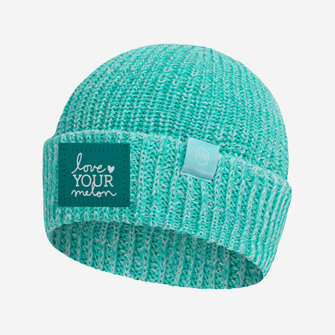 Mint and White Speckled 37.5 Lightweight Cuffed Beanie