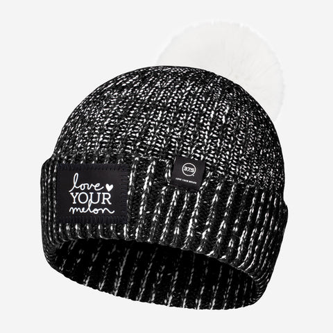 Black and White Speckled 37.5 Lightweight Pom Beanie