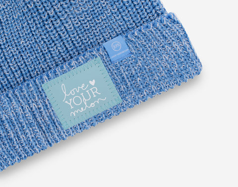 Soft Blue and White Speckled Lightweight 37.5 Pom Beanie