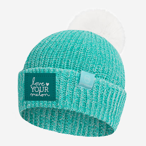 Mint and White Speckled Lightweight 37.5 Pom Beanie