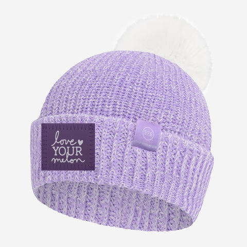Light Purple and White Speckled Lightweight 37.5 Pom Beanie