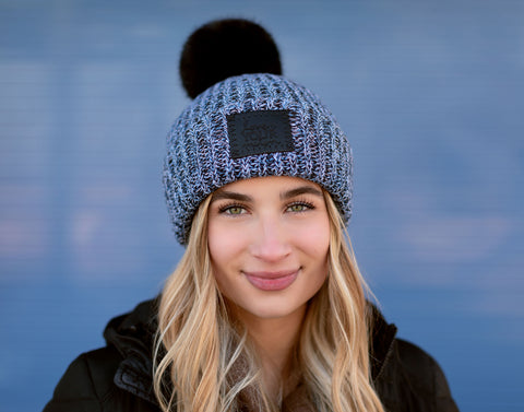 Winter Pom Beanie (Black Leather Patch)