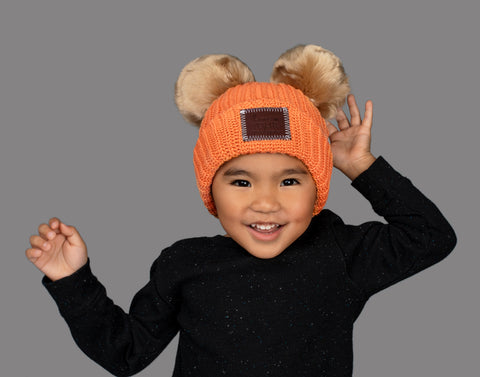 Sun Orange Kids Double Pom Beanie (Natural Poms)