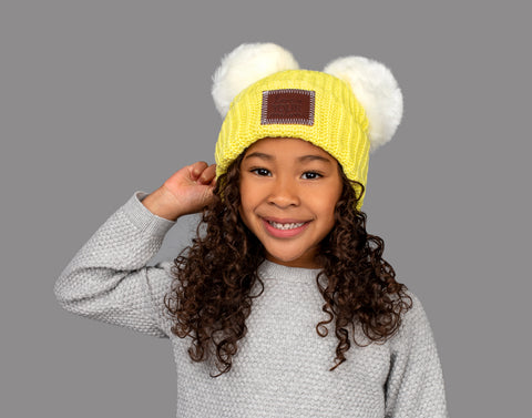 Limelight Double Kids Pom Beanie (White Poms)