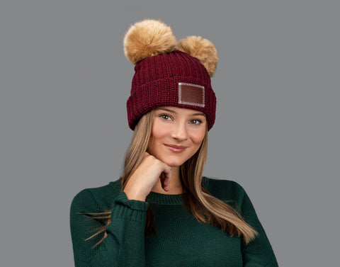 Burgundy Double Pom Beanie (Natural Poms)