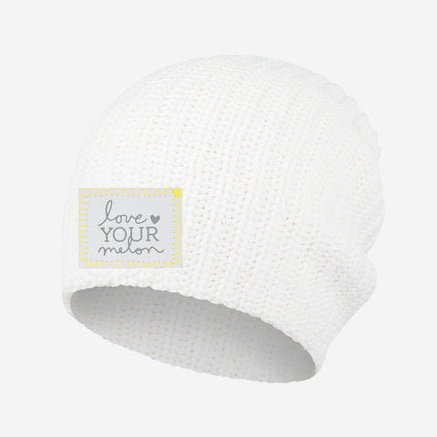 Love Your Melon White Beanie (Ultimate Gray Logo Patch)