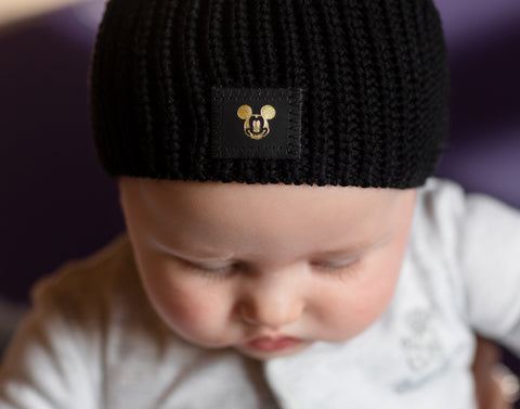 Black Mickey Mouse Lightweight Baby Beanie