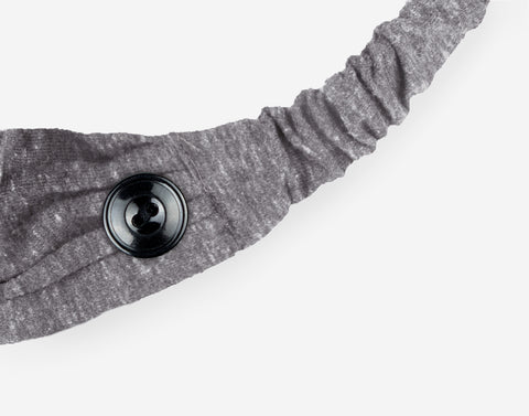 Adult Gray Tri-Blend Scrunch Button Headband