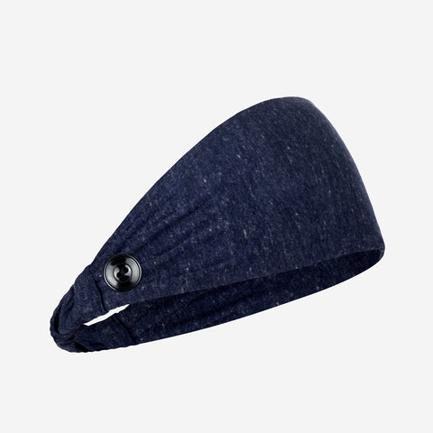 Adult Navy Tri-Blend Scrunch Button Headband
