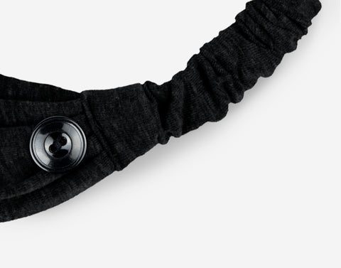 Adult Black Scrunch Button Headband