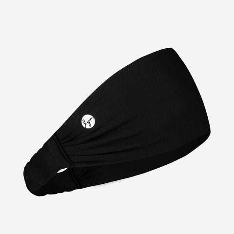 Black Cursive White Logo Headband