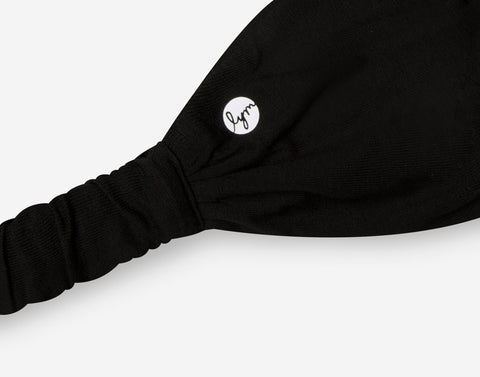 Black Cursive White Logo Headband - Rep Program