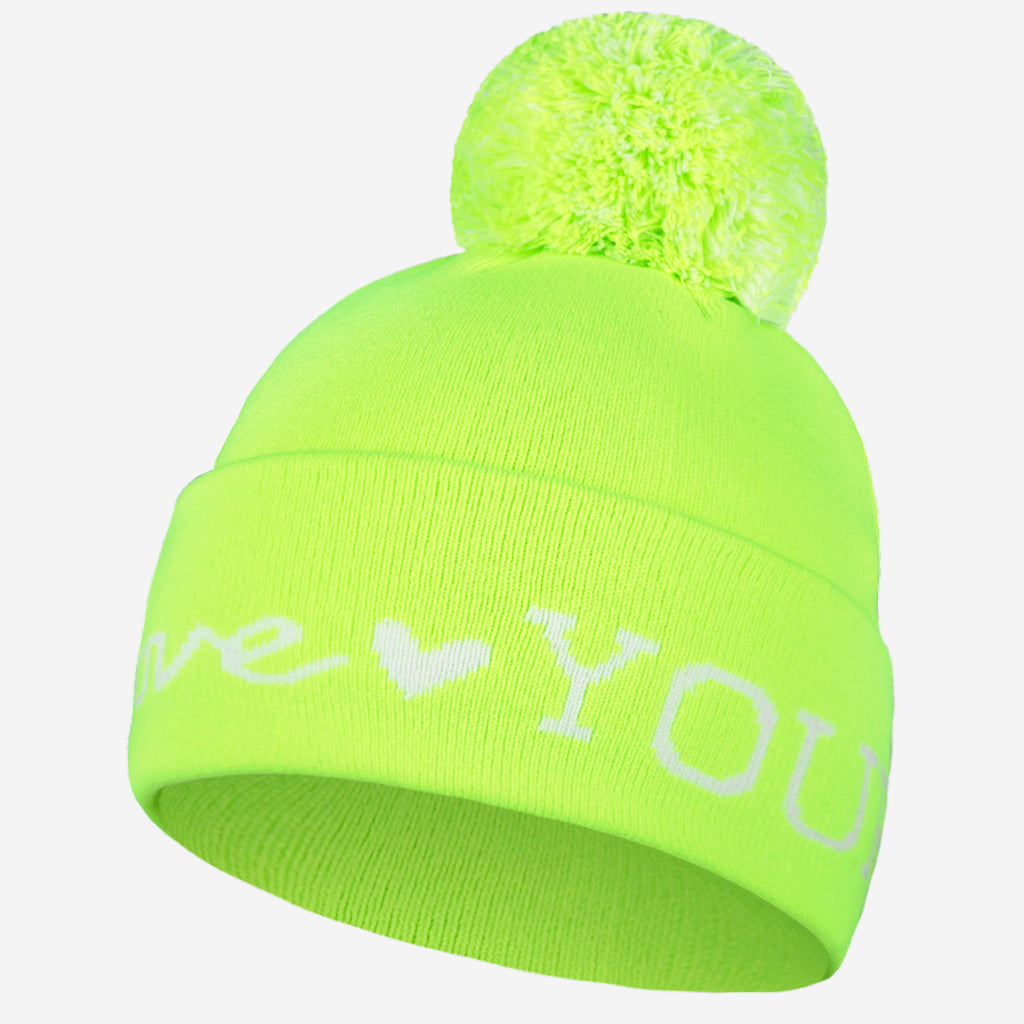 Love Your Melon Safety Green and White Acrylic Pom Beanie 270e5f5d882