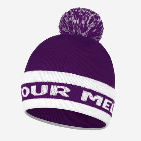 Purple and White Pom Beanie