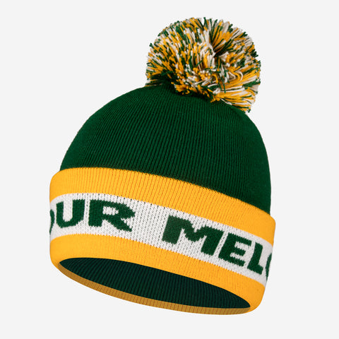 Green and Yellow Pom Beanie