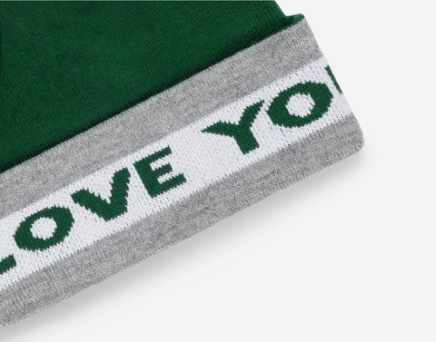 Green Silver and White Pom Beanie