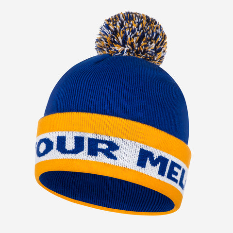 Blue and Gold Pom Beanie