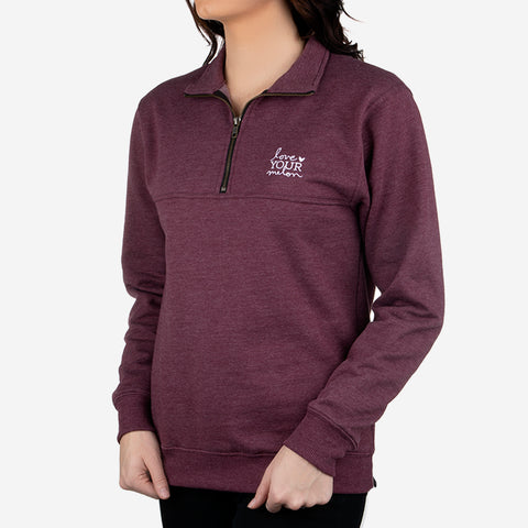 Burgundy Quarter Zip Sweatshirt-Apparel-Love Your Melon