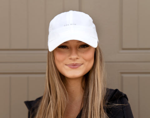 White Dog Mom Athletic Cap