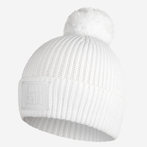 White Revitalize Pom Beanie-Beanie-Love Your Melon
