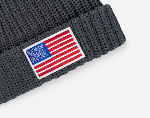 Charcoal American Flag Get Us PPE Pom Beanie