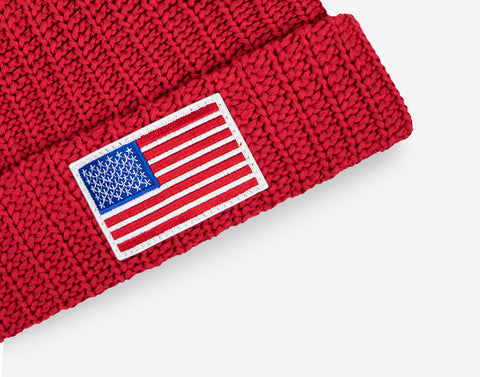 Red American Flag Get Us PPE Pom Beanie