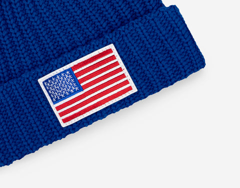 Royal Blue American Flag Get Us PPE Pom Beanie