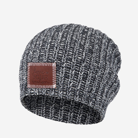 Charcoal and White Speckled Beanie-Beanie-Love Your Melon