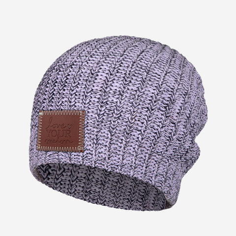 Light Purple and Navy Speckled Beanie