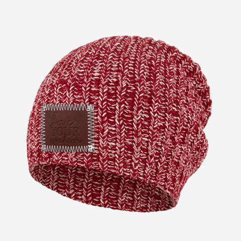 Crimson and White Speckled Beanie