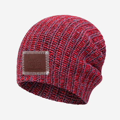 Red, Black, and Slate Speckled Beanie