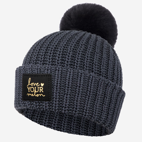 Dark Charcoal Gold Foil Pom Beanie-Beanie-Love Your Melon
