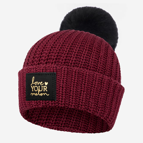 Burgundy Gold Foil Pom Beanie-Beanie-Love Your Melon