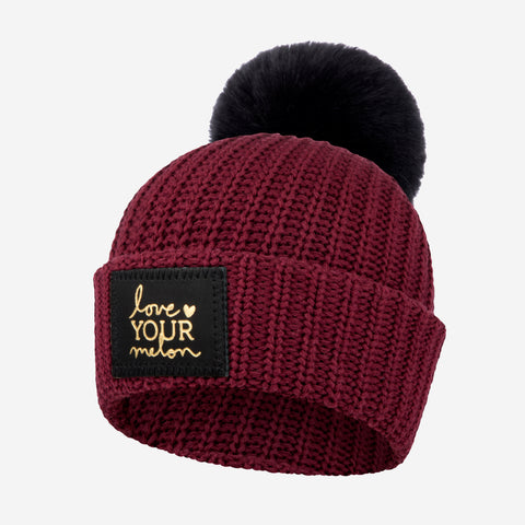 Kids Burgundy Gold Foil Pom Beanie-Beanie-Love Your Melon