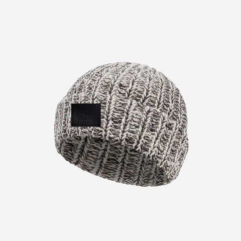 Black Speckled Baby Cuffed Beanie (Black Leather Patch)