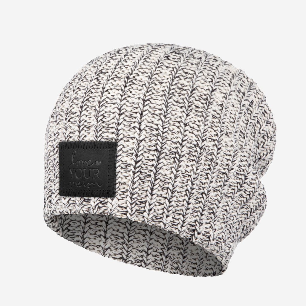Black Speckled Beanie (Black Leather Patch) Wholesale