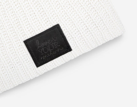 White Beanie (Black Leather Patch)-Beanie-Love Your Melon