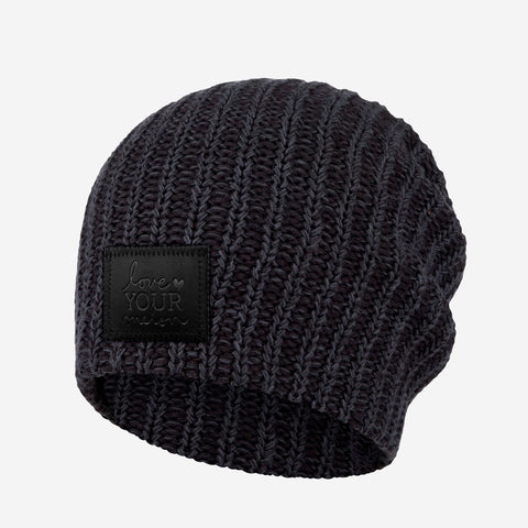 Smoke Speckled Beanie (Black Leather Patch)-Beanie-Love Your Melon