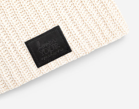 White Speckled Beanie (Black Leather Patch)-Beanie-Love Your Melon