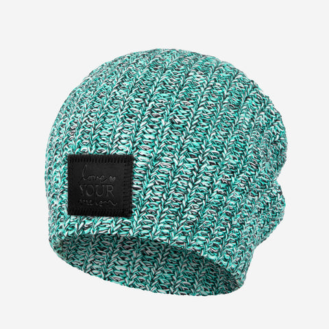 Mint Chip Beanie (Black Leather Patch)-Beanie-Love Your Melon