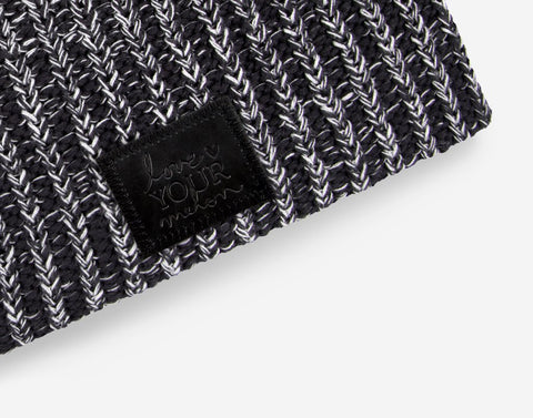 Black and White Speckled Beanie (Black Leather Patch)-Beanie-Love Your Melon
