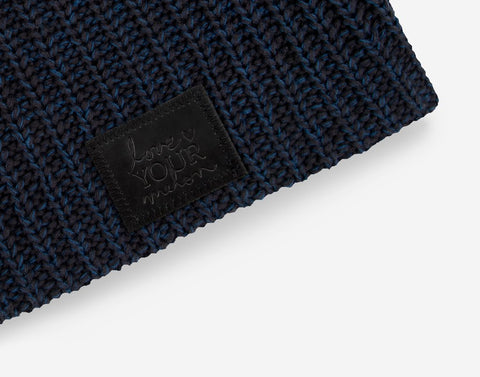 Black and Navy Beanie (Black Leather Patch)-Beanie-Love Your Melon