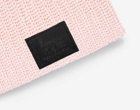 Blush Beanie (Black Leather Patch)-Love Your Melon