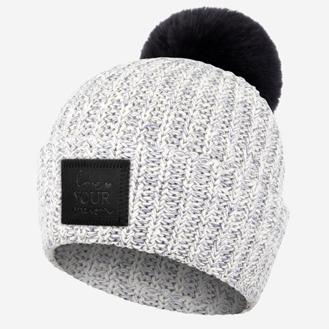Gray Speckled Pom Beanie (Black Leather Patch)-Beanie-Love Your Melon
