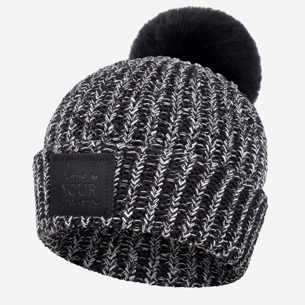 Love Your Melon Black and White Speckled Pom Beanie (Black Leather) 64ec31c32c4f