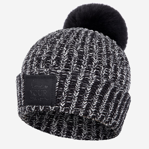 Black and White Speckled Pom Beanie (Black Leather Patch)-Beanie-Love Your Melon