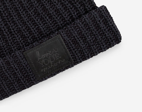 Smoke Speckled Pom Beanie (Black Leather Patch)-Beanie-Love Your Melon