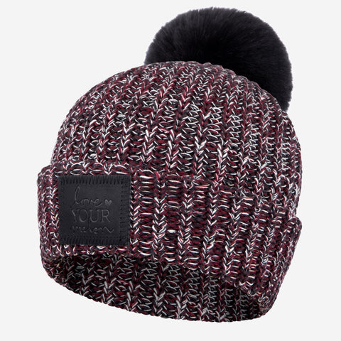 Black, Burgundy and White Speckled Pom Beanie (Black Leather Patch)-Beanie-Love Your Melon