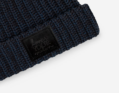 Black and Navy Speckled Pom Beanie (Black Leather Patch)-Beanie-Love Your Melon