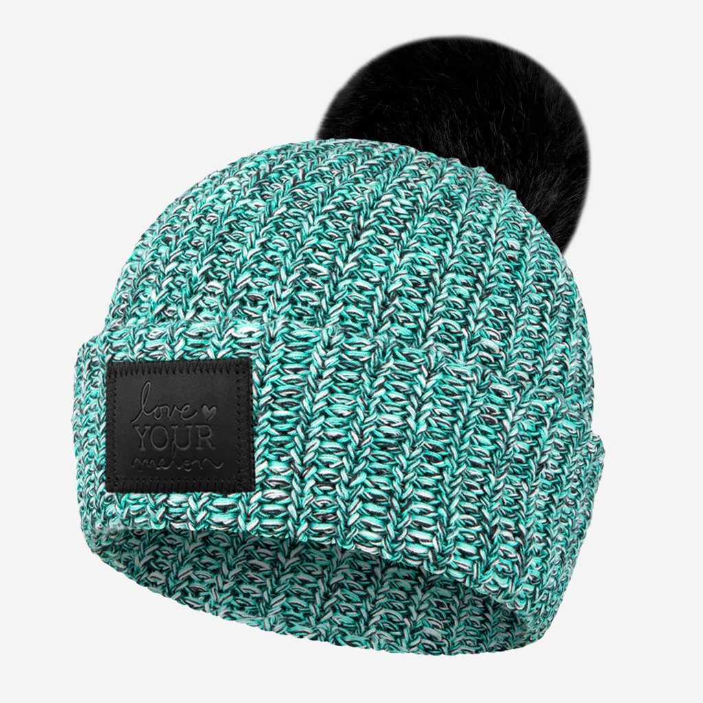 Mint Chip Pom Beanie (Black Leather Patch) Wholesale